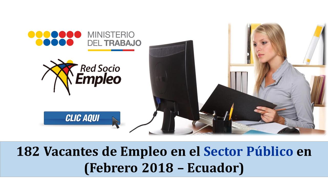 182 Vacantes de Empleo en el Sector Público en Ecuador - Febrero 2018